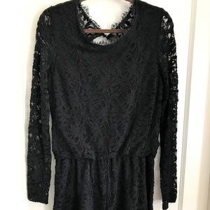 BOSTON PROPER Long Sleeved, Lace, Lined Romper